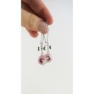 Boucles d'oreille pendantes - Beignes Rose ultra pâle & cœur blanc | Chez Laurette
