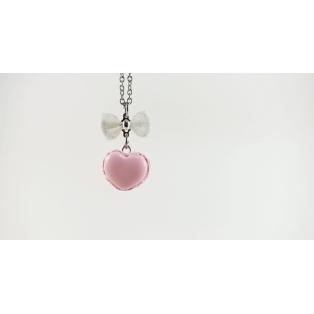 Collier macaron en forme de cœur, rose ultra pâle (MINI) | Chez Laurette