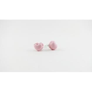 Puces d'oreille, macarons cœur | rose ultra pâle
