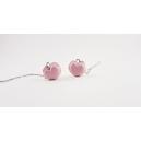 Boucles d'oreille pendantes - Macarons cœur, rose ultra pâle   Chez Laurette