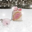 Collier Gâteau Géode Quartz Rose (Macaron coeur) | Pièce unique | MAXI | Chez Laurette